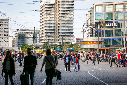 Street scene in central Berlin at Alexanderplatz