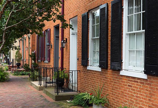 Street scene in Frederick Maryland stock photo