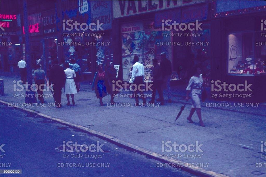 Street scene in Harlem, New York City stock photo
