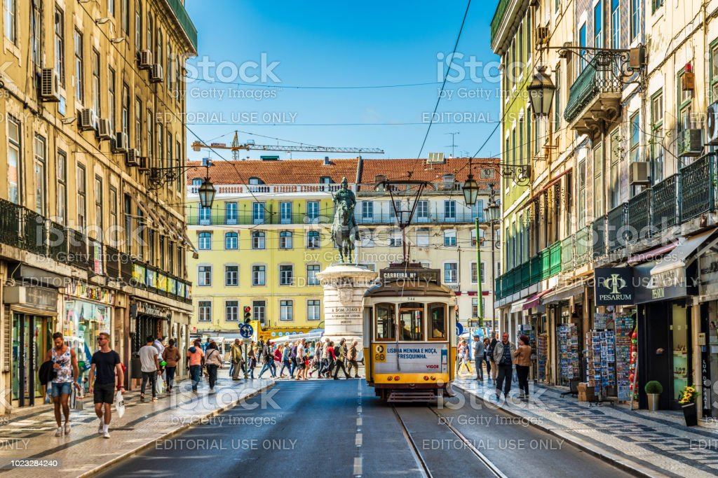 Street scene in Lisbon, Portugal stock photo