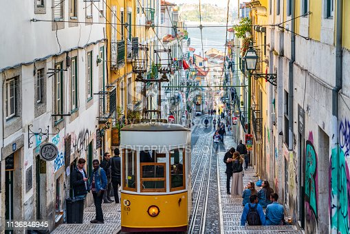 Street scene in Lisbon, Portugal. Photo contains incidental people and signage.