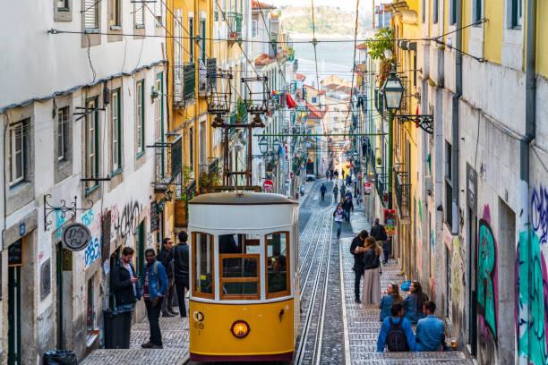 straatscène in lissabon, portugal - portugal stockfoto's en -beelden