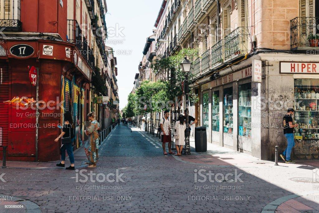 Street scene in Malasaña district in Madrid stock photo