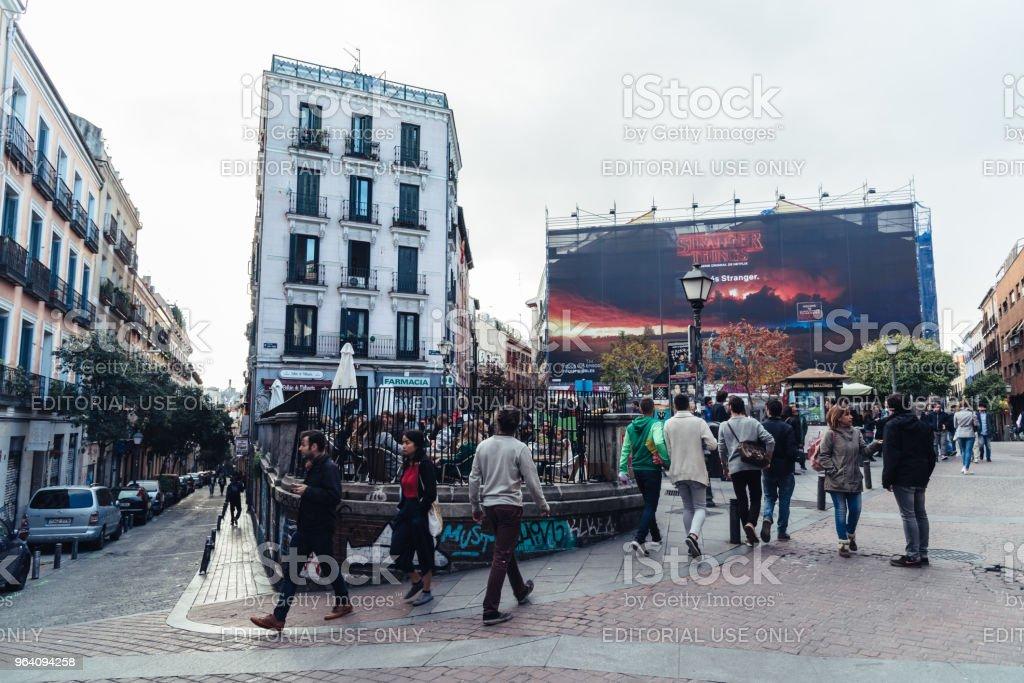 Street scene in Malasana district in Madrid - Royalty-free Alternative Lifestyle Stock Photo