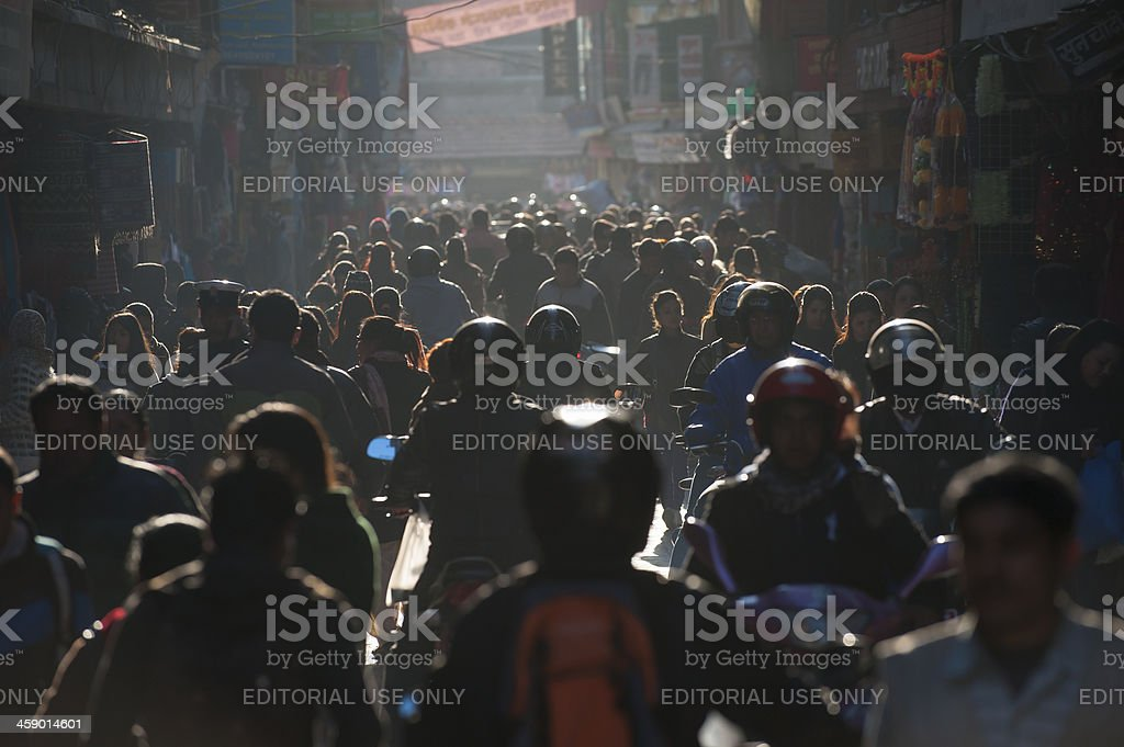 Street scene in old city area, Kathmandu, Nepal royalty-free stock photo