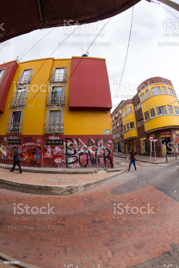 Street scene in the Candelaria, Bogota, Colombia. stock photo