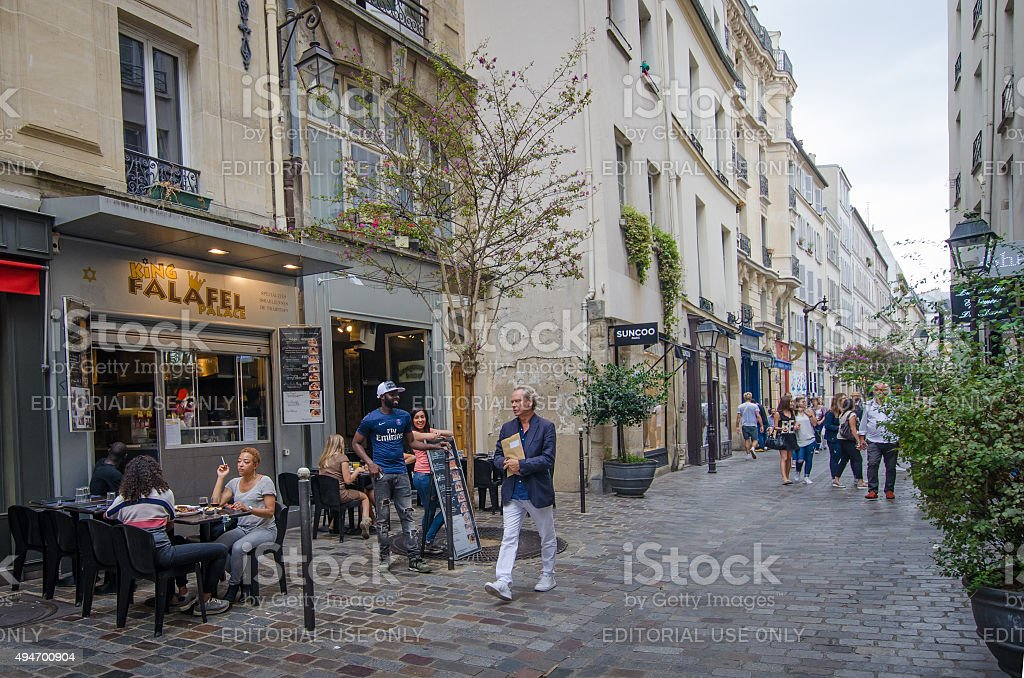 Street scene in the Jewish district of Marais stock photo