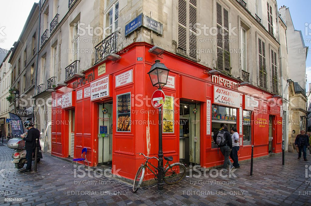 Street scene in the Jewish neighborhood of Marais stock photo