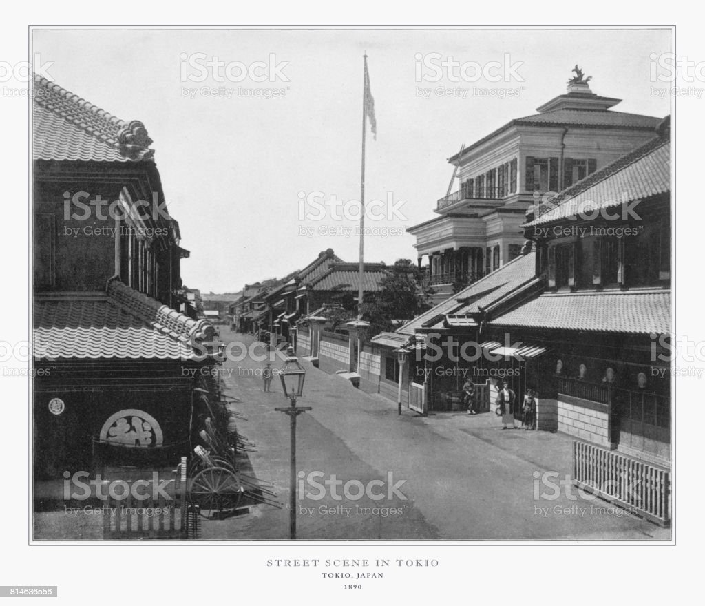 Street Scene in Tokyo, Japan, Antique Japanese Photograph, 1893 stock photo