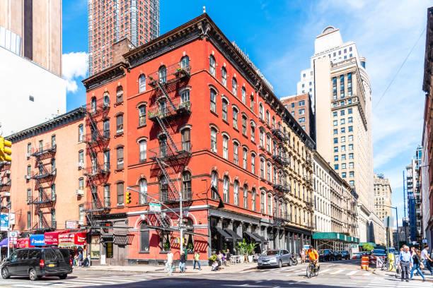 Street scene in Tribeca District of Manhattan stock photo