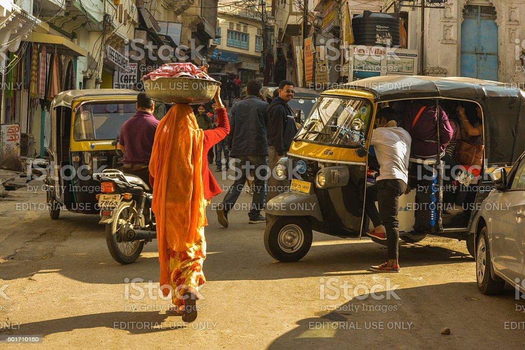 Street Scene in Udaipur, India stock photo