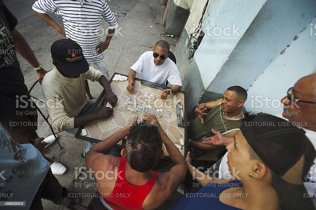 Street Scene of Domino Players in Havana Cuba royalty-free stock photo