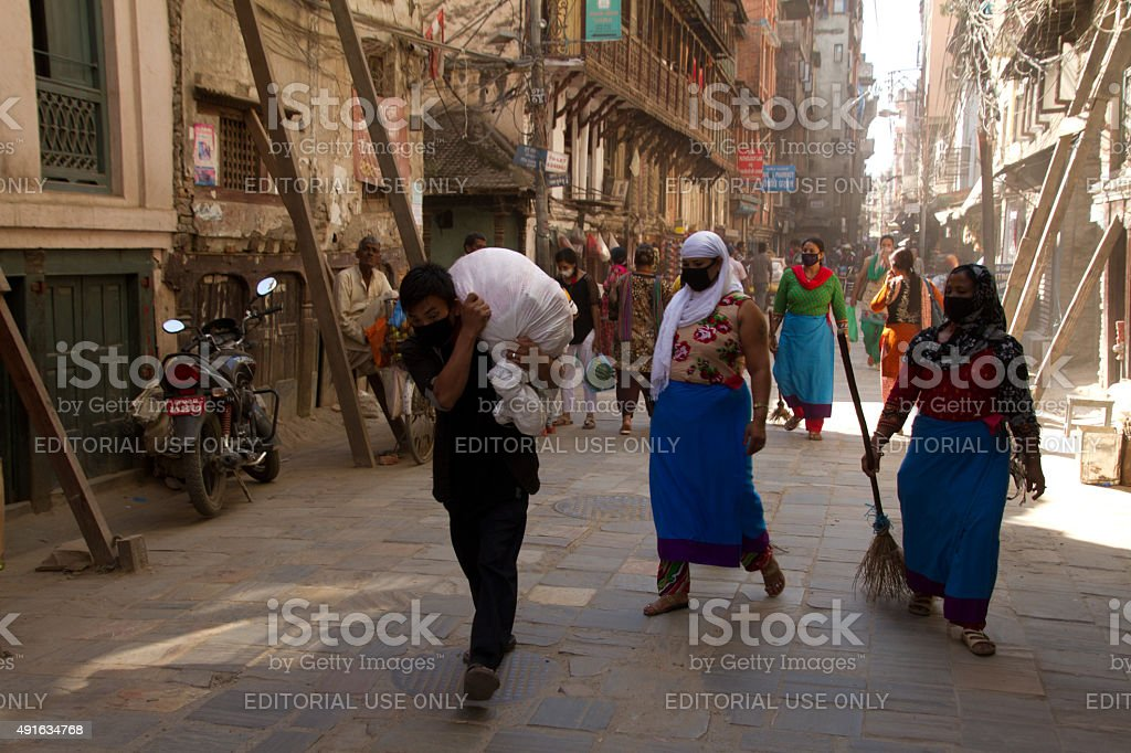 Street scene of Kathmandu, Nepal stock photo