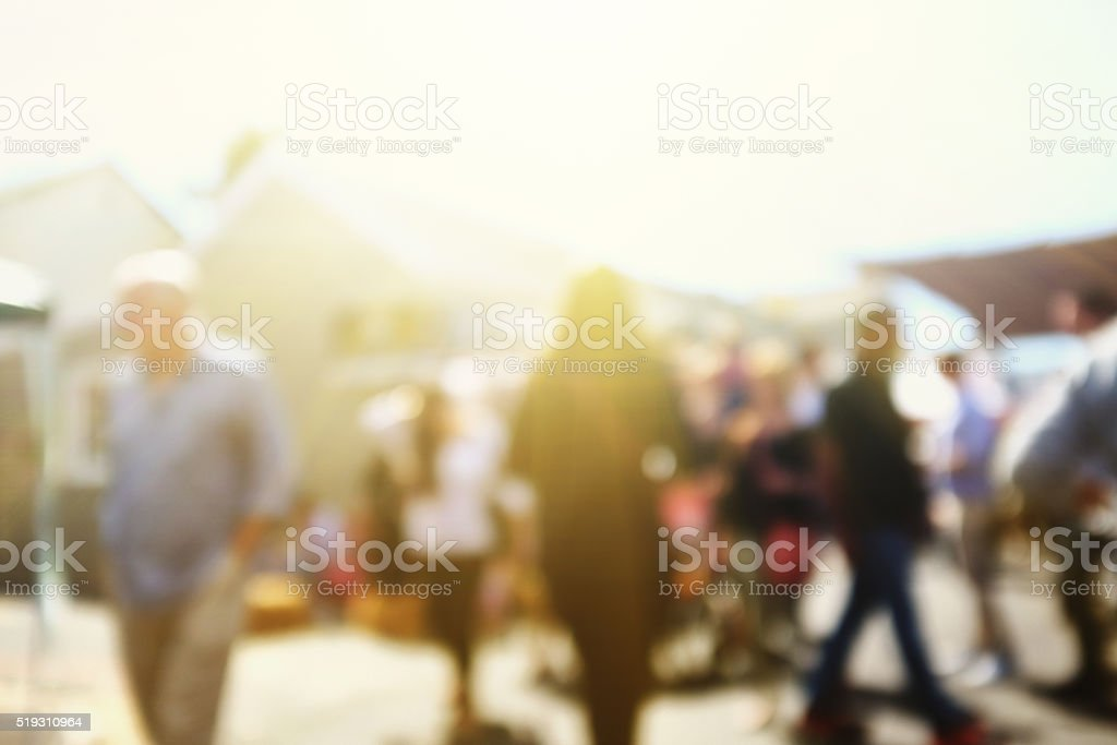 Street scene with defocussed blurred crowd. Useful urban background. stock photo