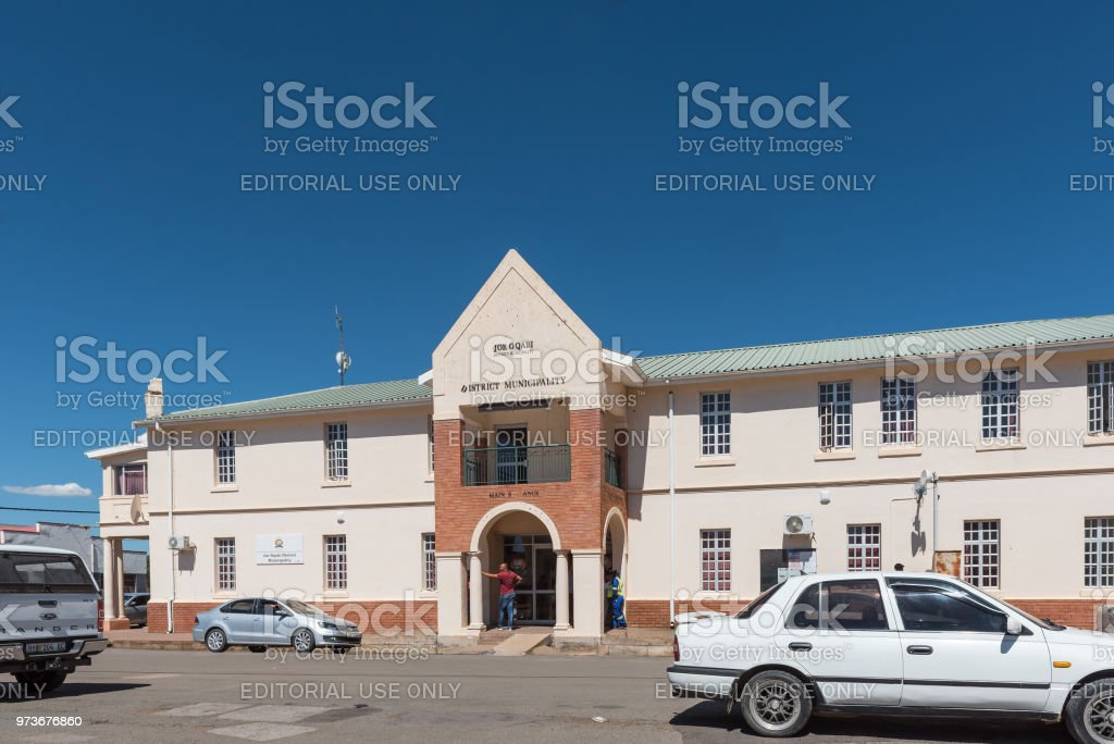 Street scene, with municipal offices, in Barkly-East stock photo