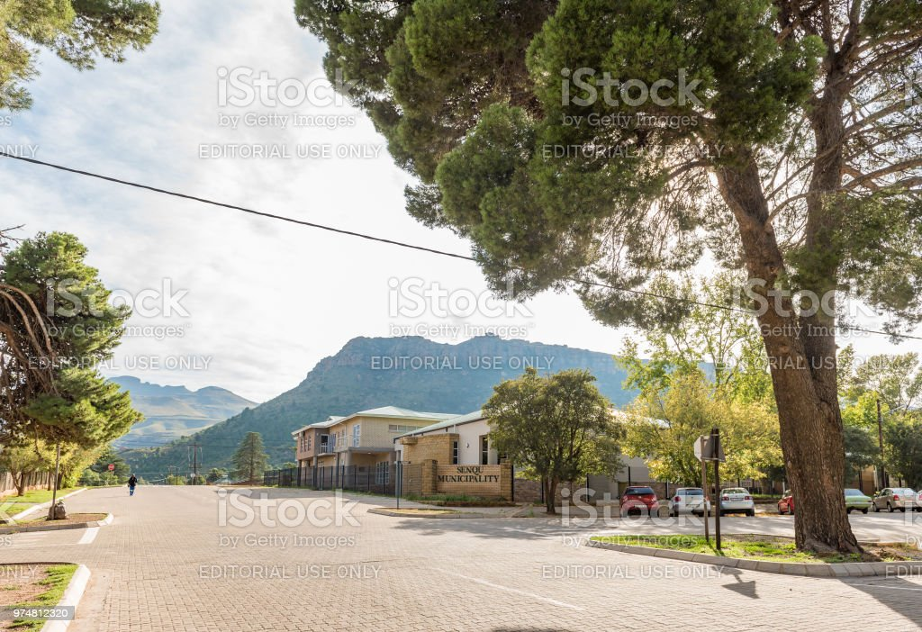 Street scene, with municipal offices, in Lady Grey stock photo