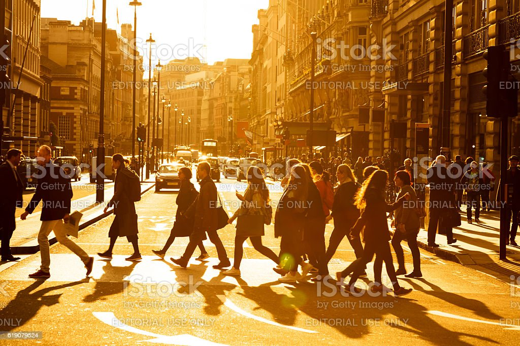 Street Scene with Pedestrians and Traffic in London, England stock photo