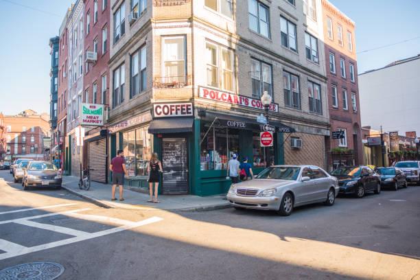 Street scene with Polcari's Coffee in Boston stock photo