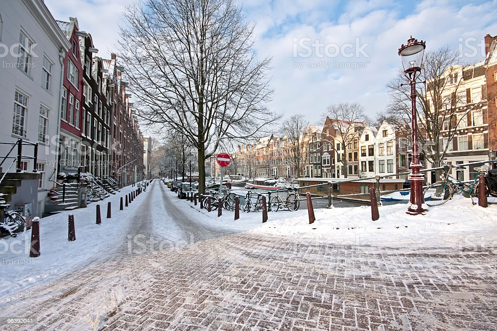 Street scenery in winter Amsterdam The Netherlands stock photo