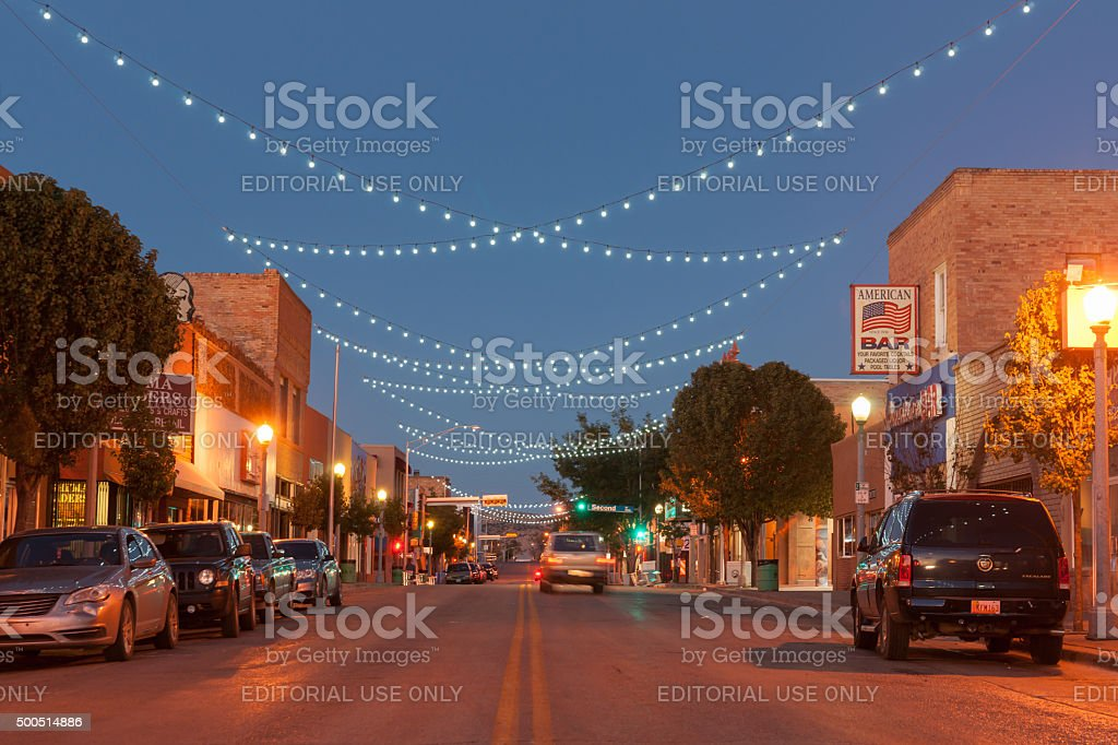 Street scne with decorative lighing Gallup New Mexico Route 66. stock photo