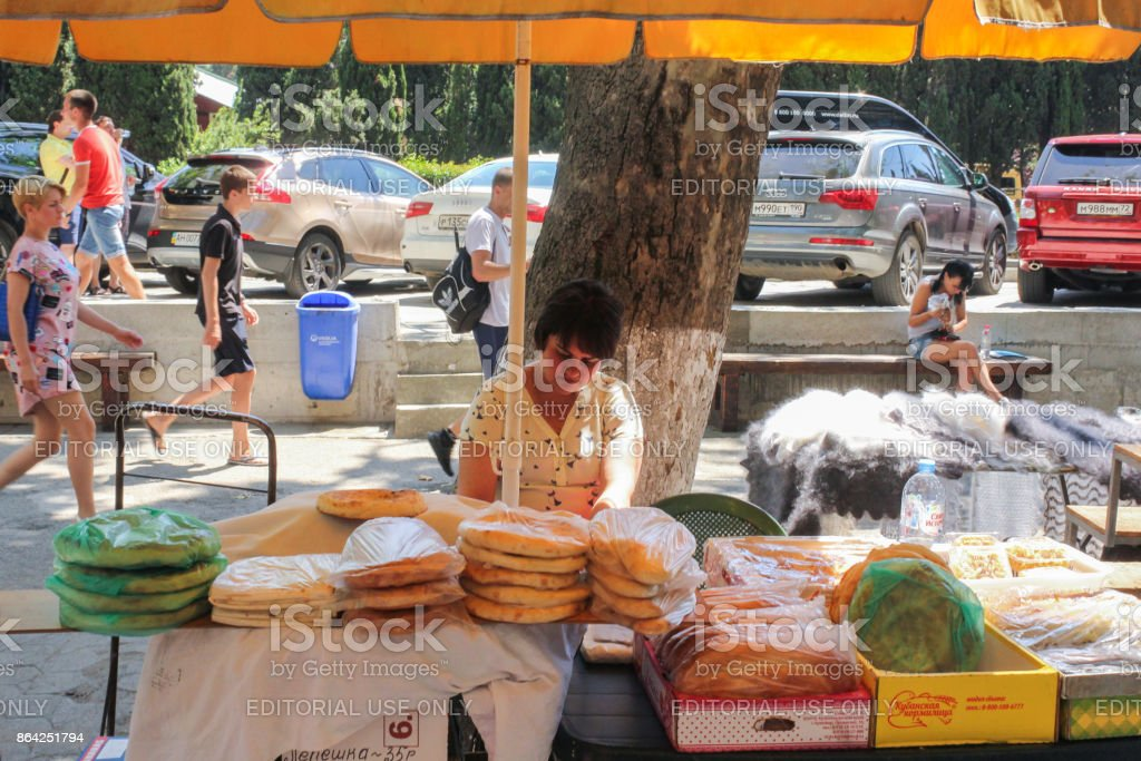 Street seller of flat cakes. royalty-free stock photo