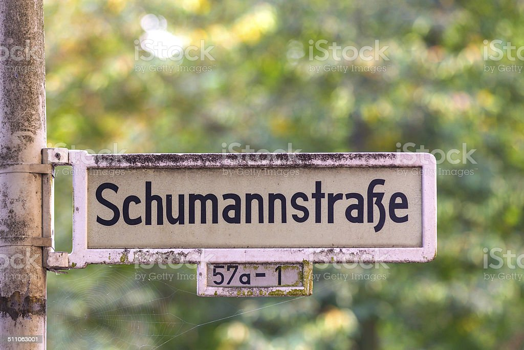street shield   named after musician Robert Schumann stock photo