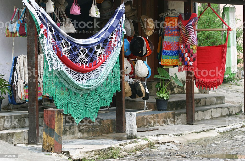 Street shop in Buzios, Brazil stock photo