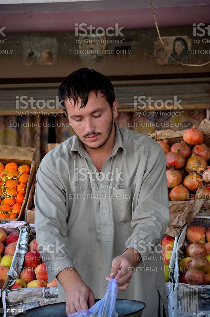 Street side fruit vendor: Islamabad, Pakistan stock photo
