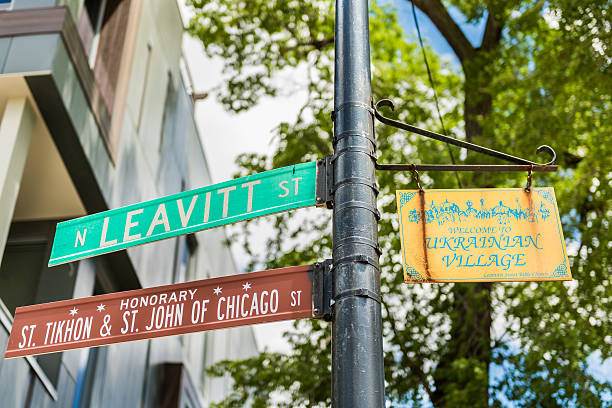 Street sign and text of Ukrainian village culture center - Photo