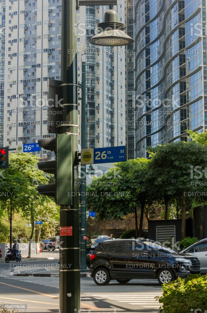Street sign at 26th avenue in the Bonifacio Global City in Taguig, Metro Manila, Philippines stock photo