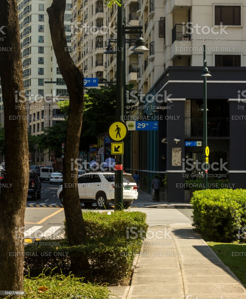 Street sign at 29th avenue in the Bonifacio Global City in Taguig, Metro Manila, Philippines stock photo