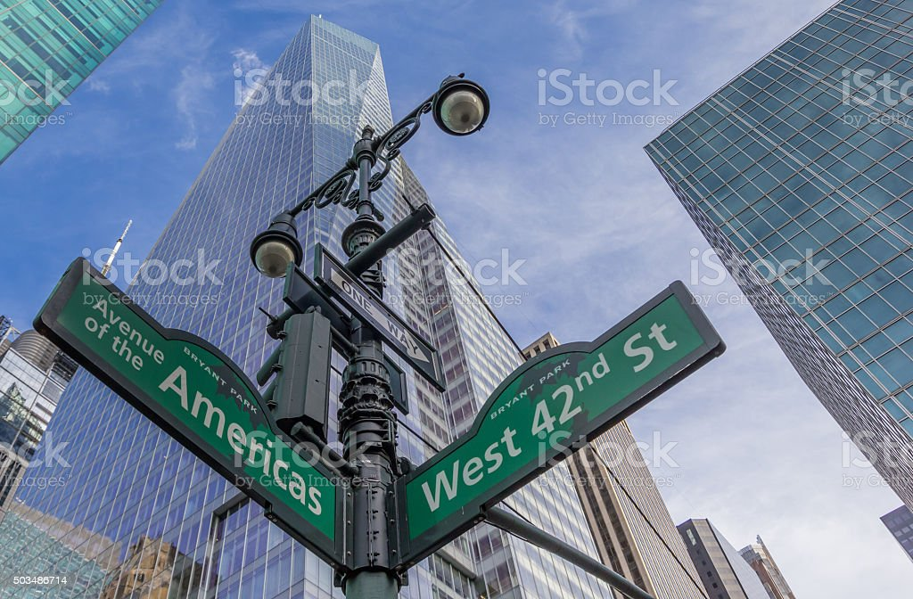 Street sign at an intersection in New York City stock photo
