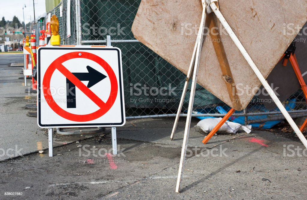 Street Sign at Construction Site stock photo