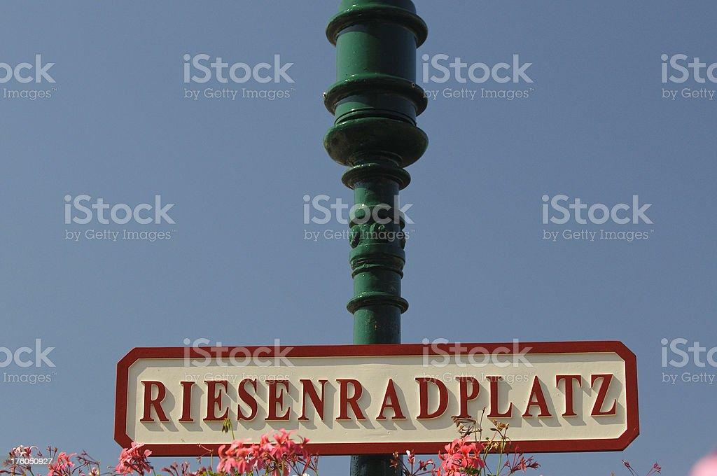 Street Sign at Famous Vienna Giant Ferris-Wheel royalty-free stock photo
