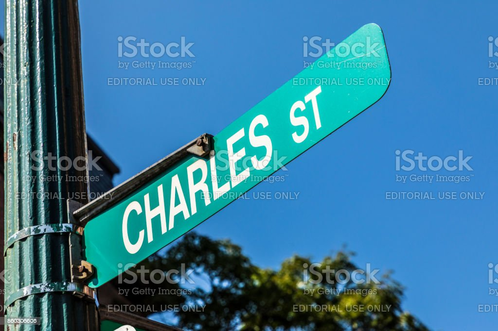 street sign Charles street in downtown Boston street in downtown Boston stock photo