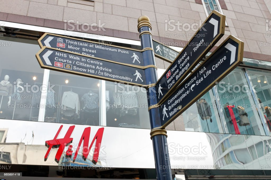 Street sign in city center in shopping area, Bullring, Birmingham, UK, 16. october 2010 stock photo