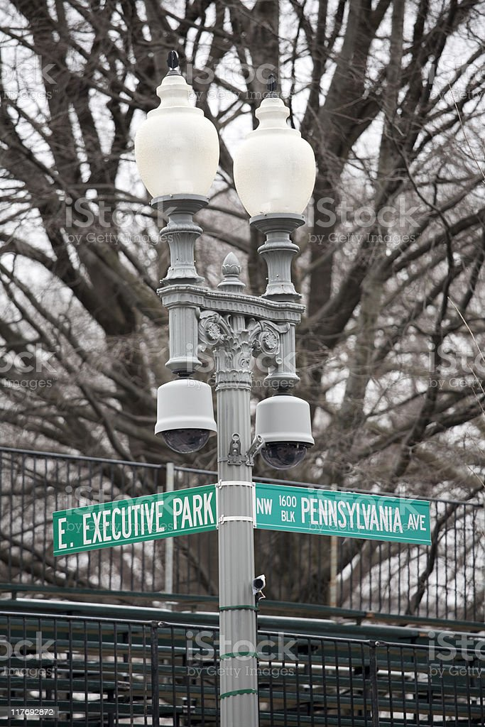 Street Sign in Front of the White House, Washington DC stock photo