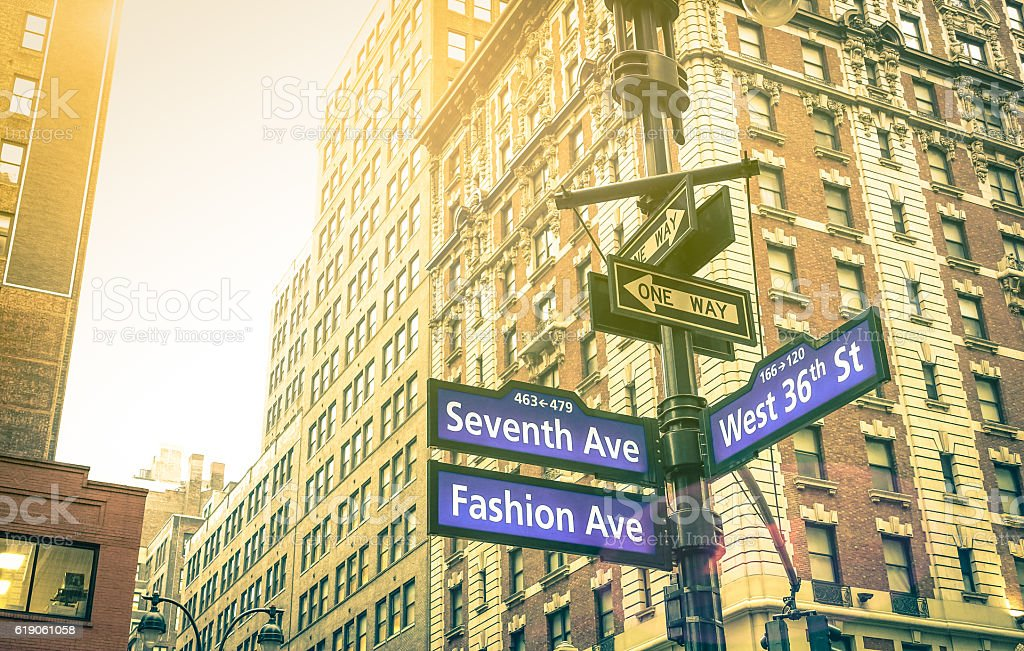 Street sign in New York City - Manhattan downtown district - Photo