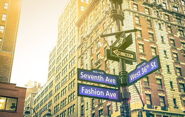 Street sign in New York City - Manhattan downtown district stock photo