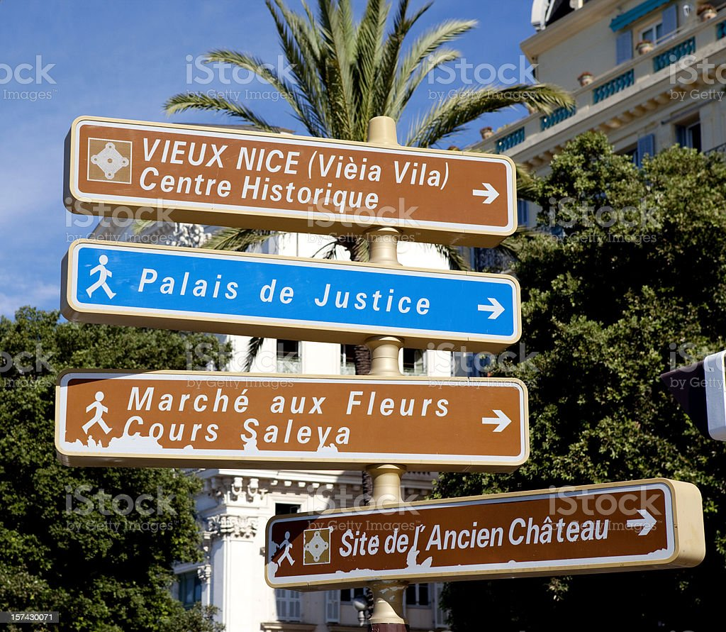 Street Sign in Nice France royalty-free stock photo