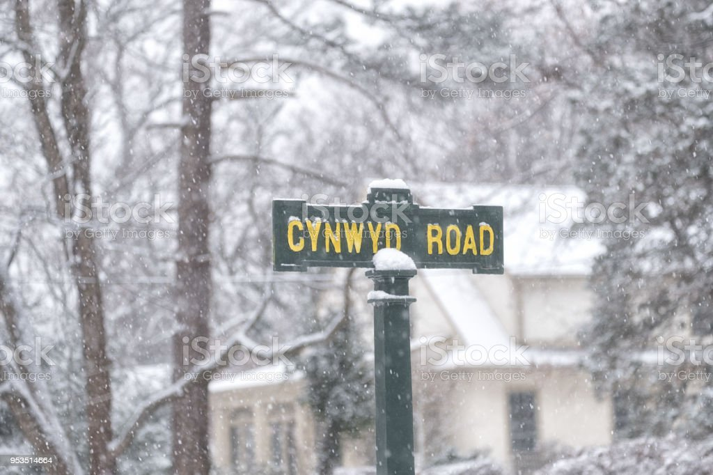 Street Sign in Snow stock photo