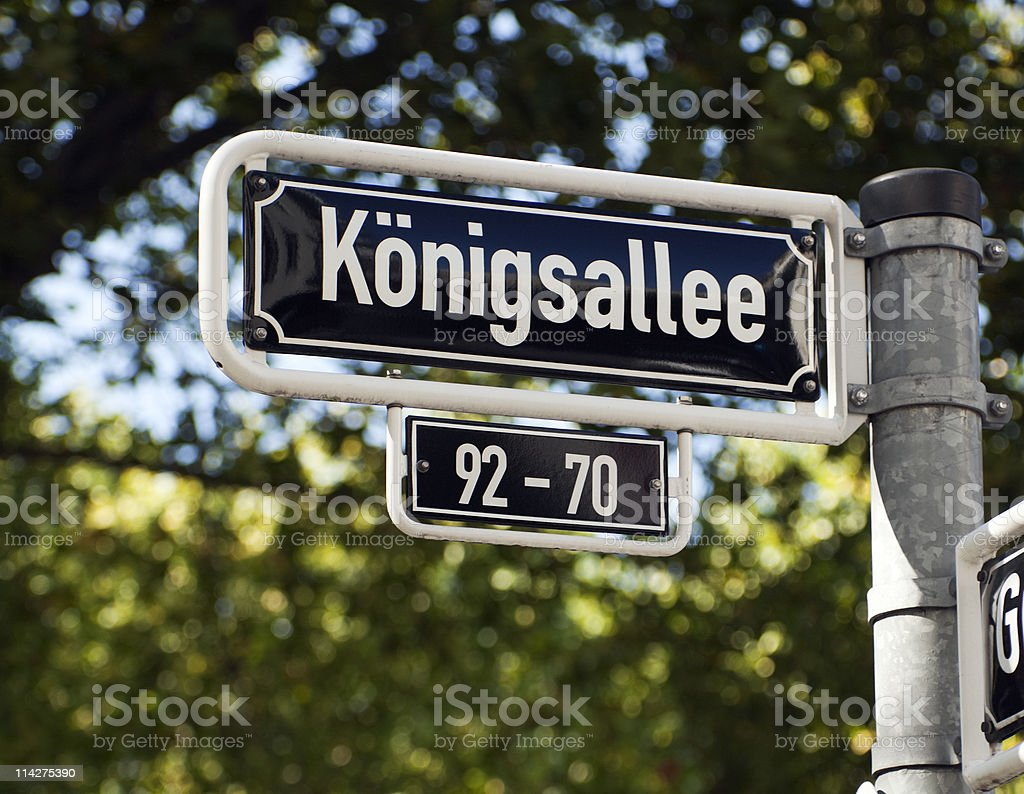 street sign Königsallee Dusseldorf stock photo