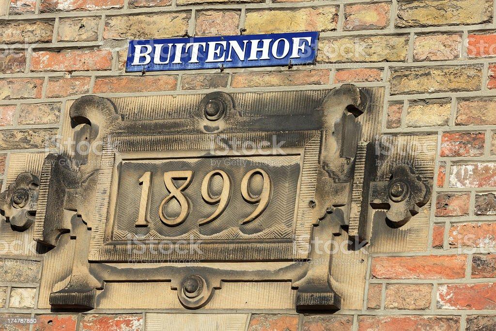 street sign of Buitenhof in The Hague stock photo