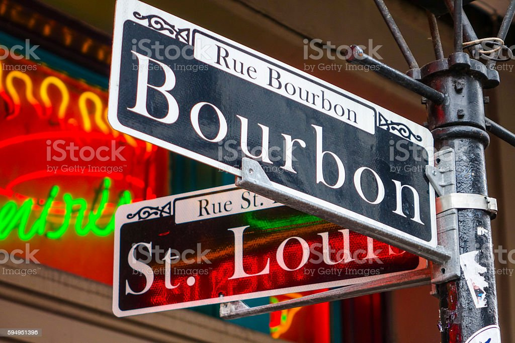 Street sign of New Orleans most famous  Bourbon  at French stock photo