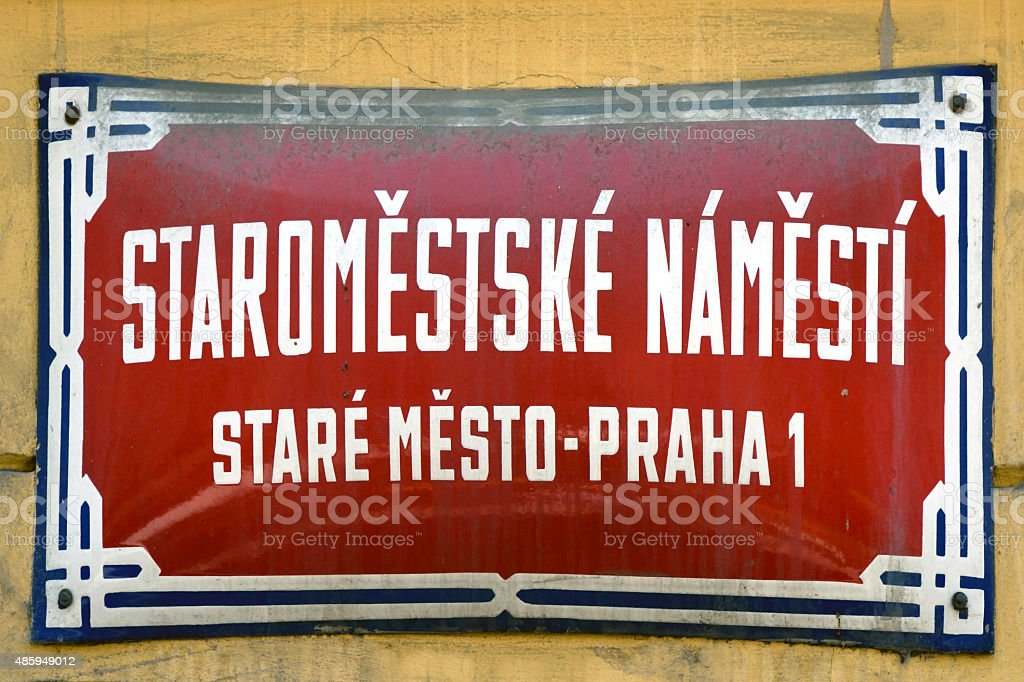 Street sign of Staromestske Namesti in Prague - Czech Republic stock photo