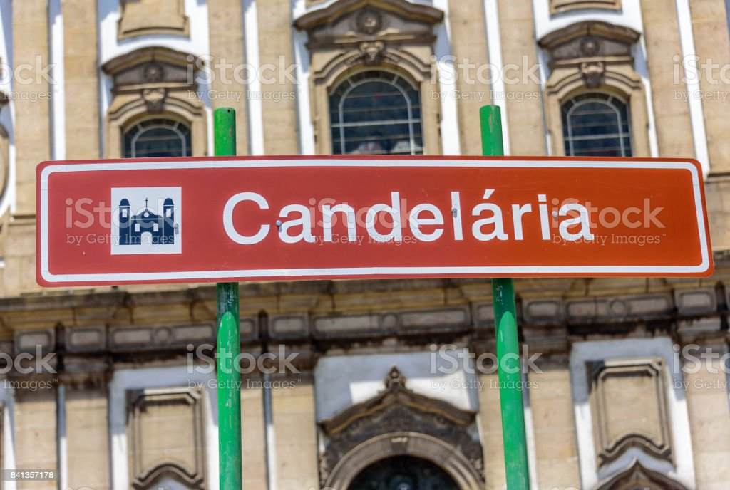 Street sign of the Candelaria Church building in honor of Our Lady of Candelaria, Rio de Janeiro