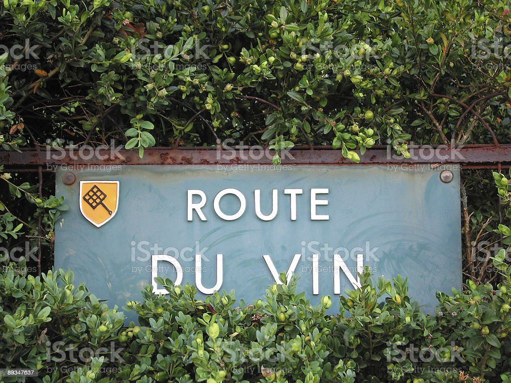 Street sign of the famous french wines road stock photo