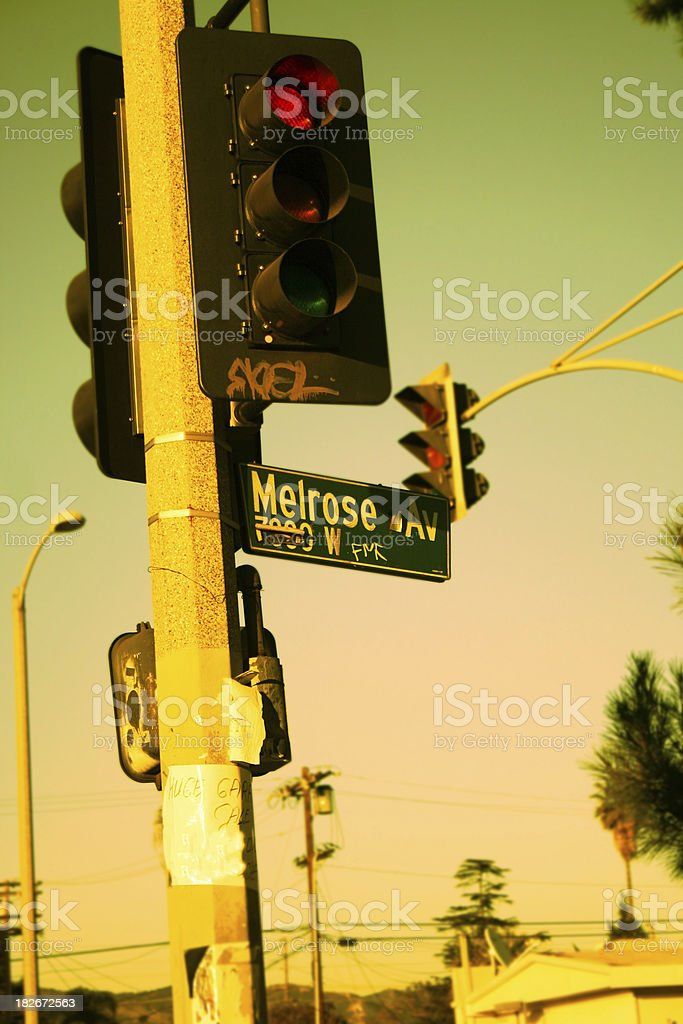 Street sign of the famous Melrose Ave in Los Angeles. stock photo