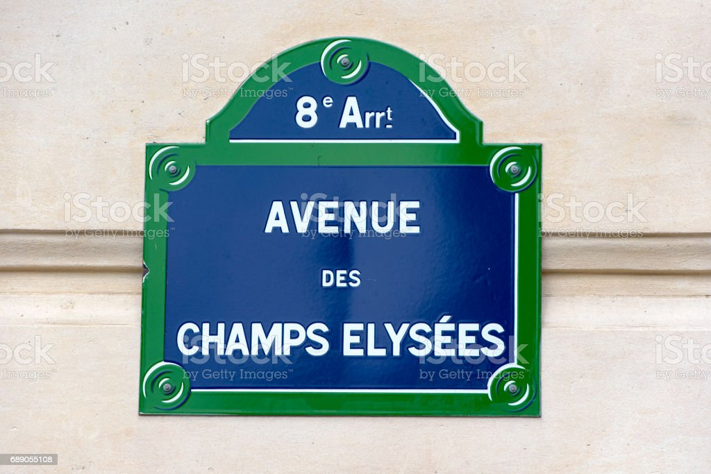 Street sign of the rue Champs-Élysées in the 8th arrondissement of Paris, France. stock photo