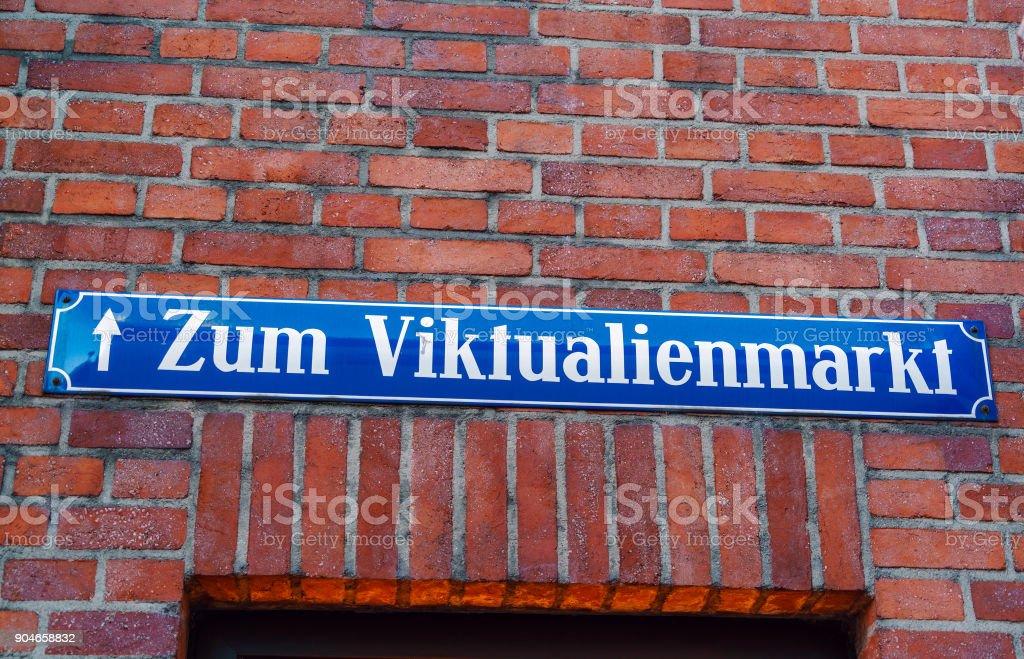 Street sign of Viktualienmarket in Munich, Bavaria stock photo